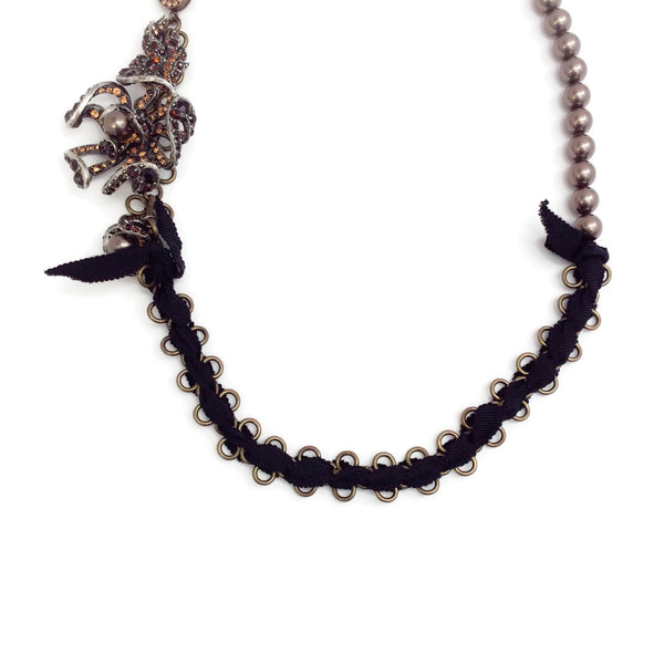 Lanvin Black Crystal Embellished Flower Necklace