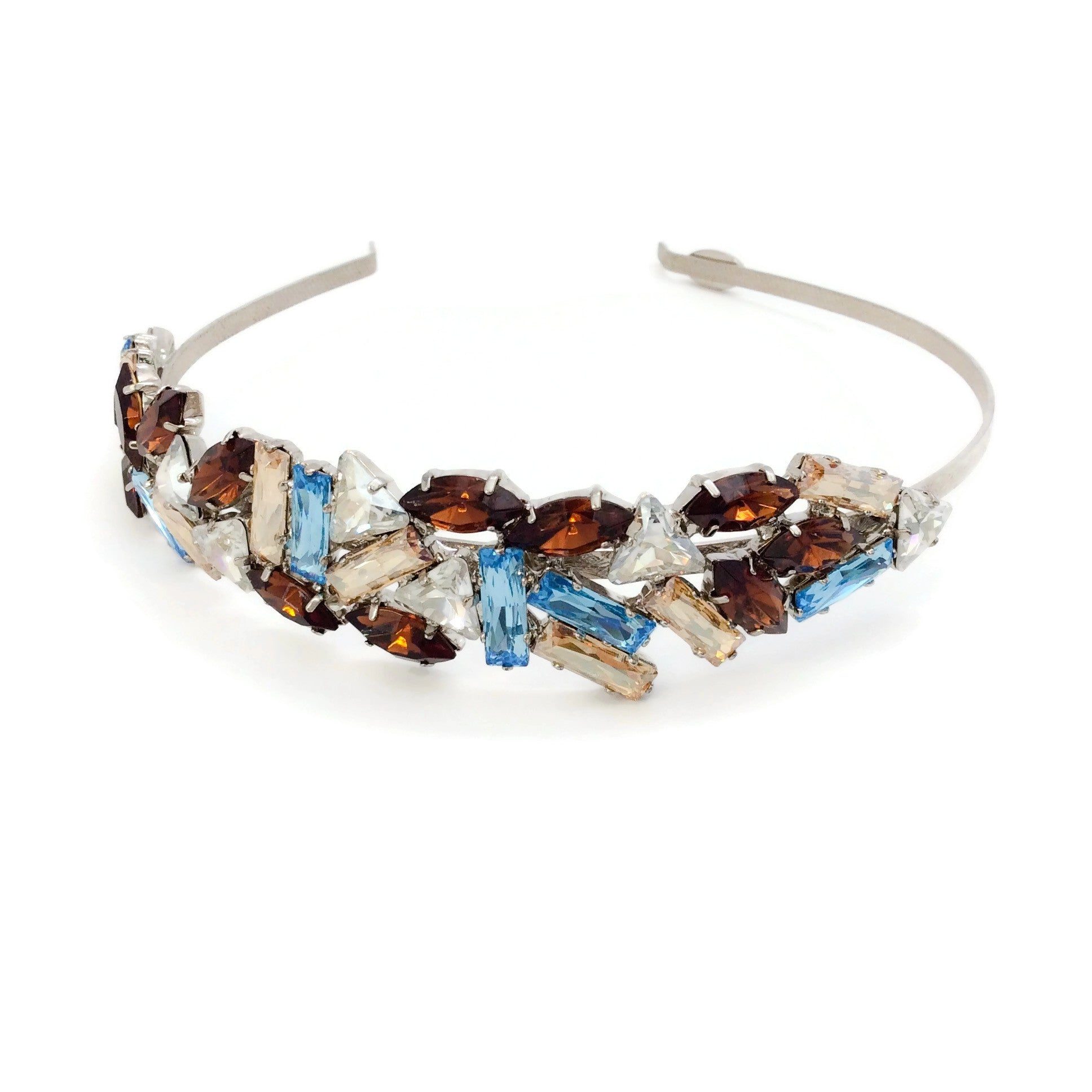 Louis Mariette Brown / Blue Crystal Embellished Headband