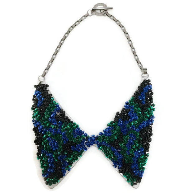 FOREST OF CHINTZ Green Sequin Collar Necklace