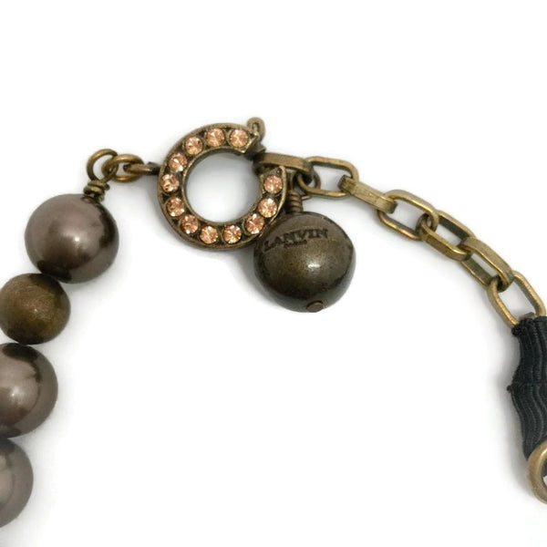 Lanvin Antiqued Bronze Pearl And Rhinestone Necklace