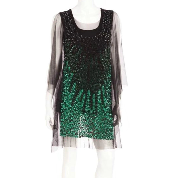 Givenchy Mesh Hi Low with Sequins Black / Green Top