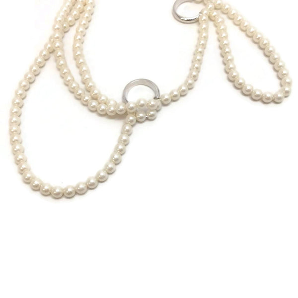 Maison Margiela Cream Pearl and Ring Necklace