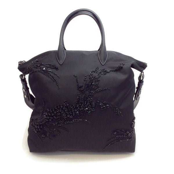 Prada Crystal Embellished Black Nylon Tote