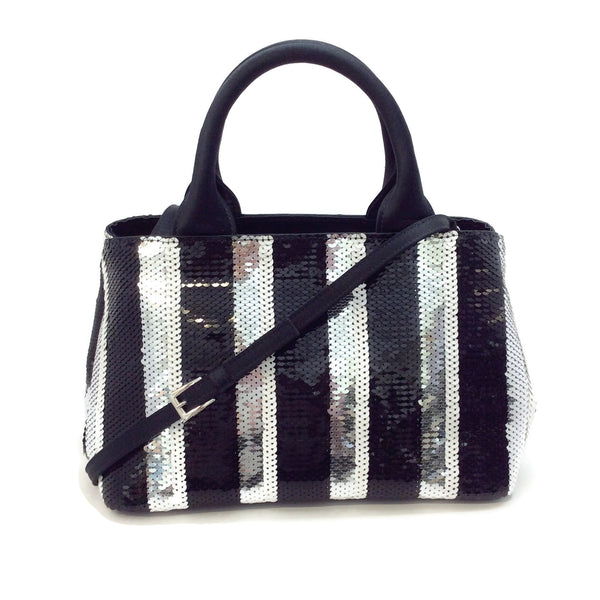 Prada Canapa Mini Black / Silver Sequin Shoulder Bag