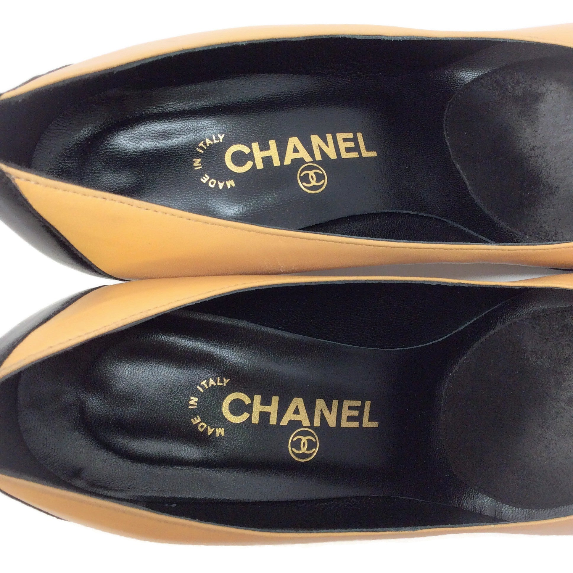 Chanel Tan / Black Cap Toe Pumps