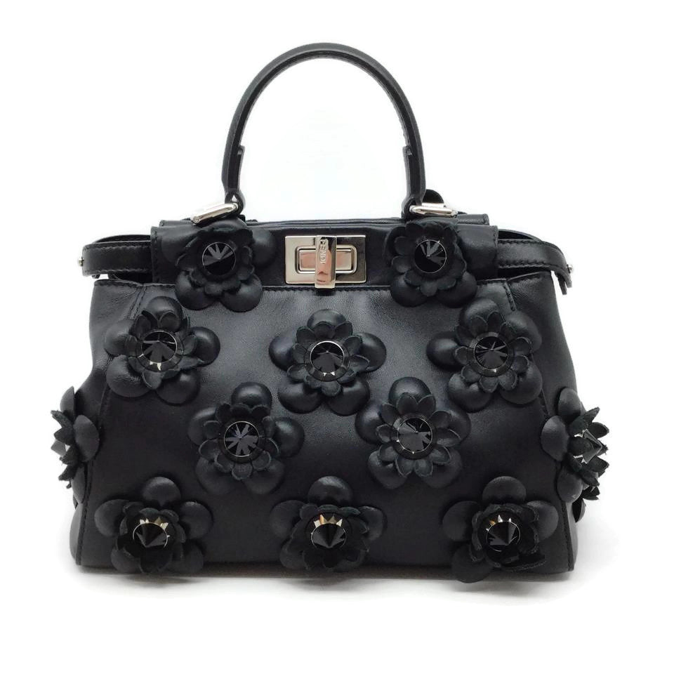 Fendi Flower Stud Black Leather Cross Body Bag