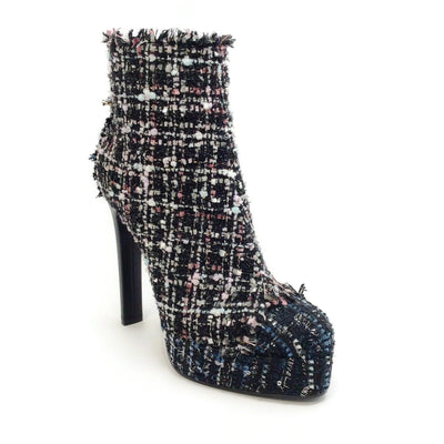 Casadei Dark Blue Multi Tweed Platform Boots