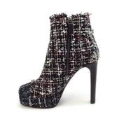 Casadei Dark Blue Multi Duchessa Tweed Platform Boots