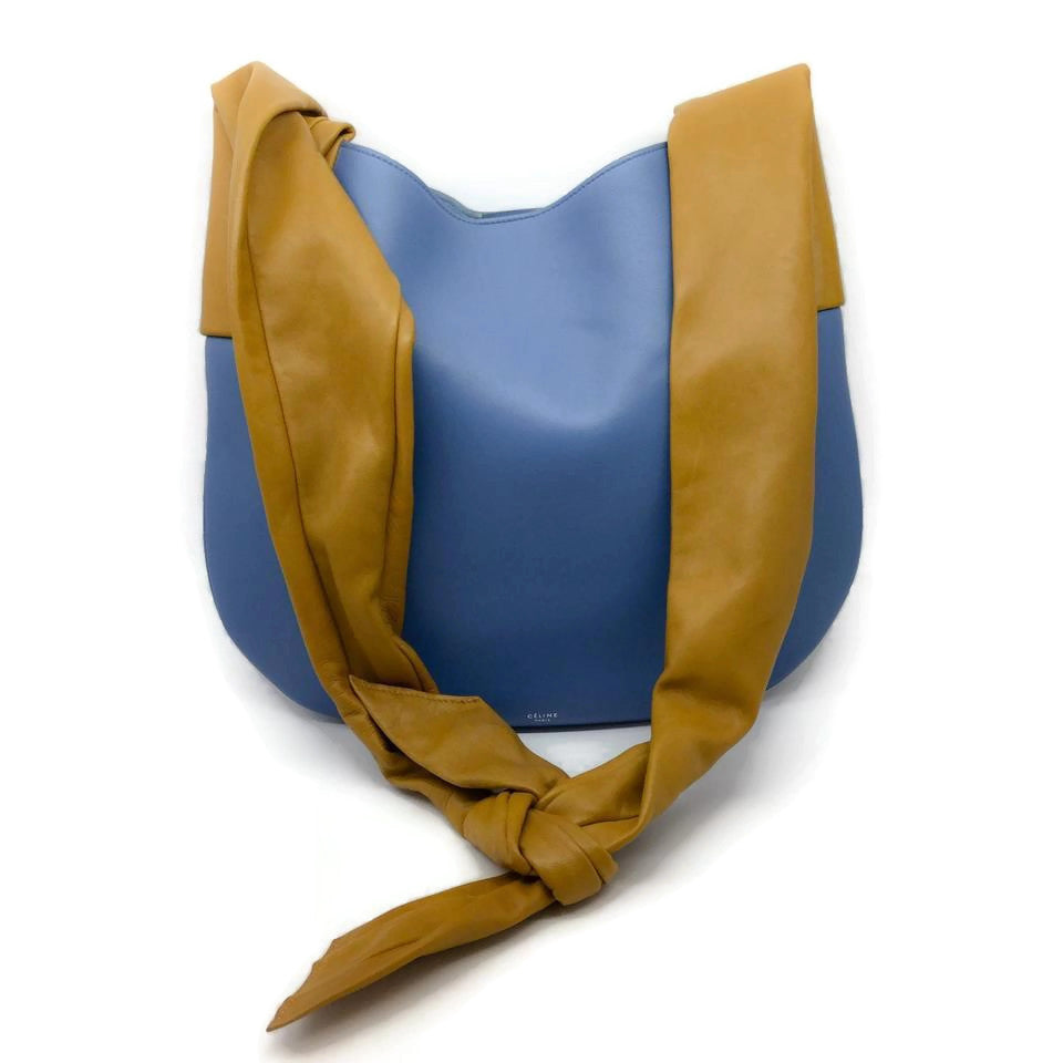 Céline Tie Ribbon Blue / Tan Leather Hobo Bag