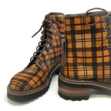 See by Chloé Tartan Brown Calf Hair Boots
