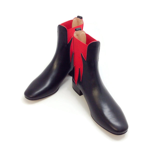 Francesco Russo Black / Red Flame Boots