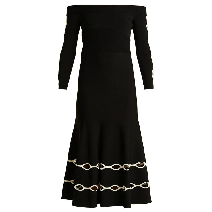 Alexander McQueen Black / White Eyelet Knit Dress