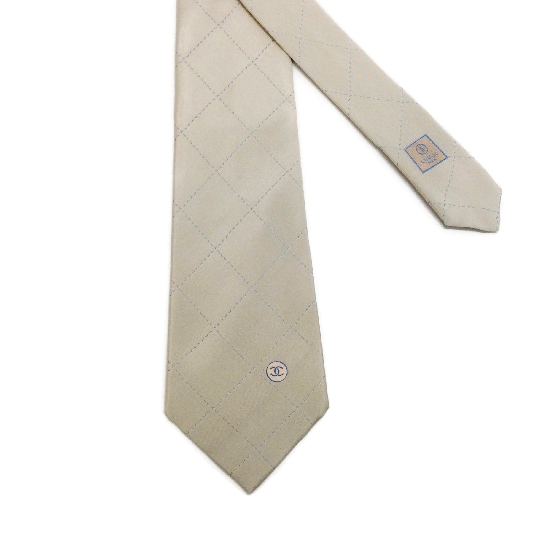Chanel Beige / Blue Silk Tie With Box