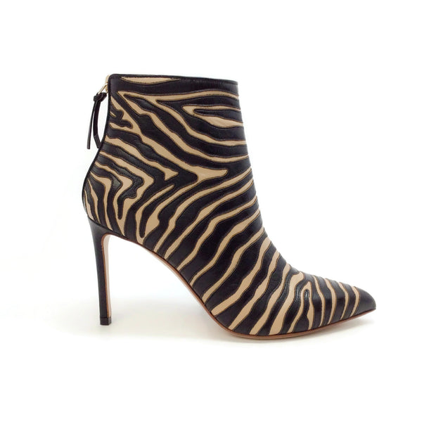 Francesco Russo Sand / Black Zebra Applique Embroidered 2 Tone Boots