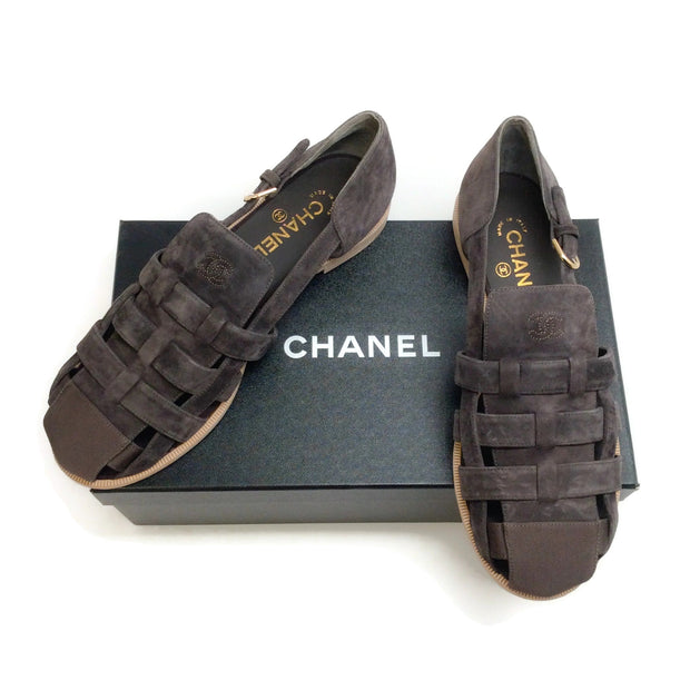 Chanel Brown Suede Huarache Flats