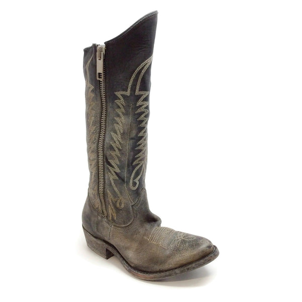 Golden Goose Deluxe Brand Old Black Distressed Zipped Western Boots