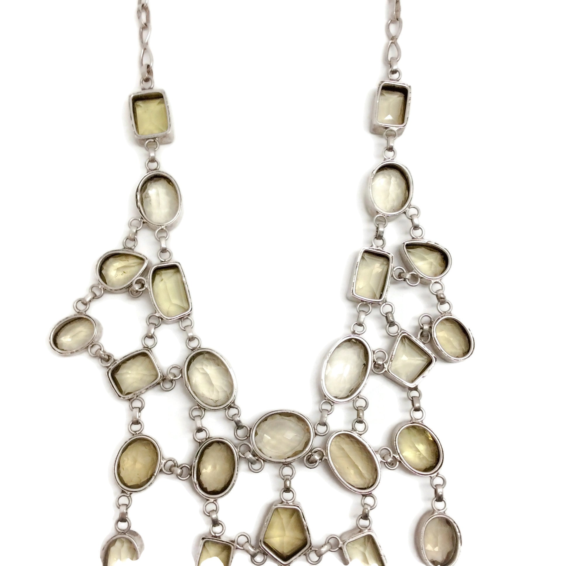 Randy Feder Sterling / Citrine Gem Statement Necklace