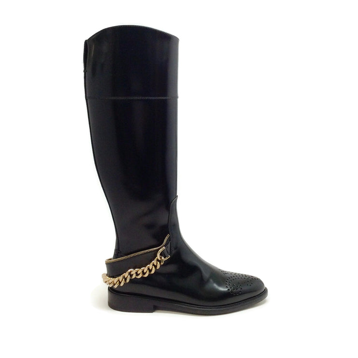 Lanvin Black Tall Chain Embellished Boots