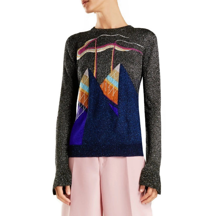 Marco de Vincenzo Black / Silver Multi Metallic Knit Sweater