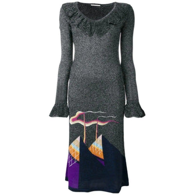 Marco de Vincenzo Grey / Silver Metallic Knit Dress