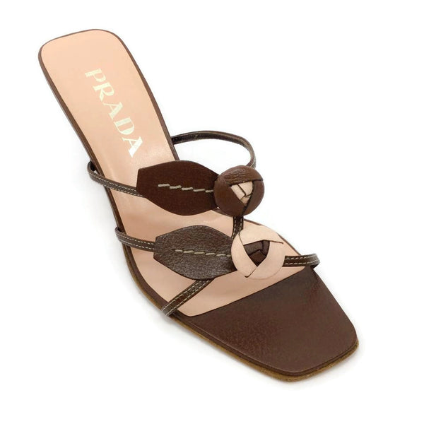 Prada Brown / Blush Flower Front Sandals