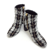 Casadei Black / White Tweed Boucle Boots