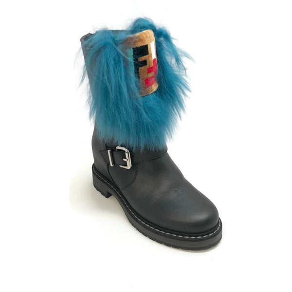 Fendi Black / Blue Hidden Wedge Boots