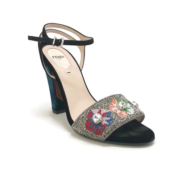 Fendi Floral Beaded Fantasia Velvet Sandals