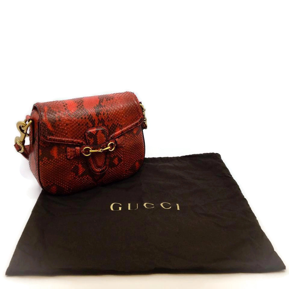 Gucci Lady Web Red Snakeskin Shoulder Bag