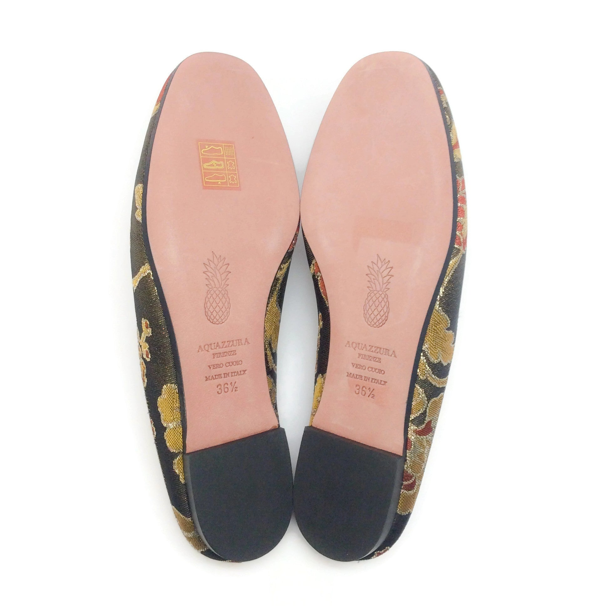 Aquazzura Black / Gold Brocade Brando Backless Flats