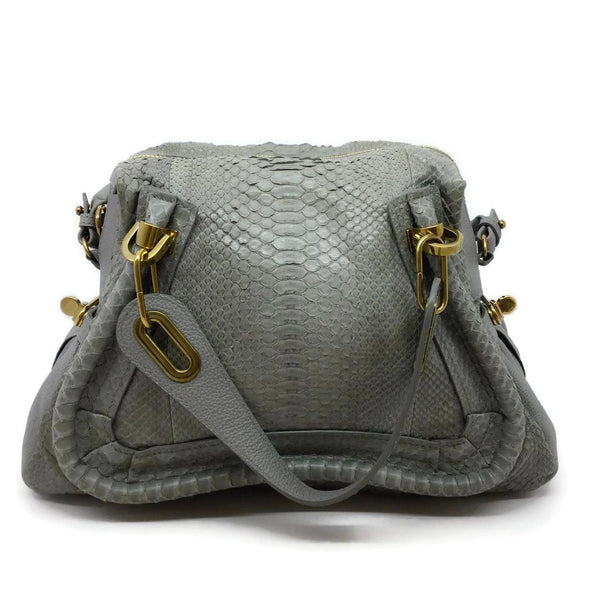 Chloé Medium Paraty Light Grey Python Skin Leather Satchel