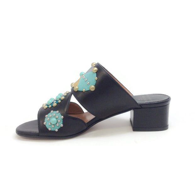 Laurence Dacade Black / Turquoise Embellished Sandals