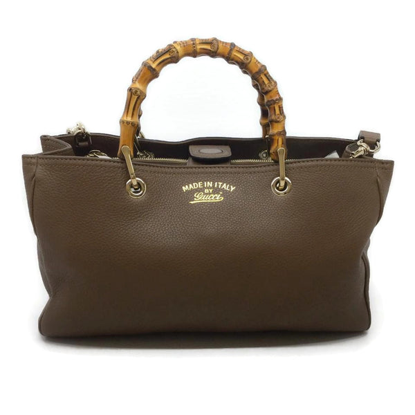 Gucci Bamboo Handle Brown Leather Tote