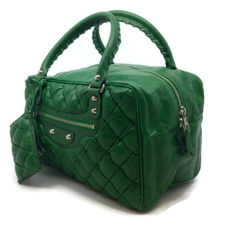 Balenciaga Quilted Metelasse Green Leather Satchel