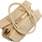 Fendi Firenze Frame Beige Selleria Leather Shoulder Bag