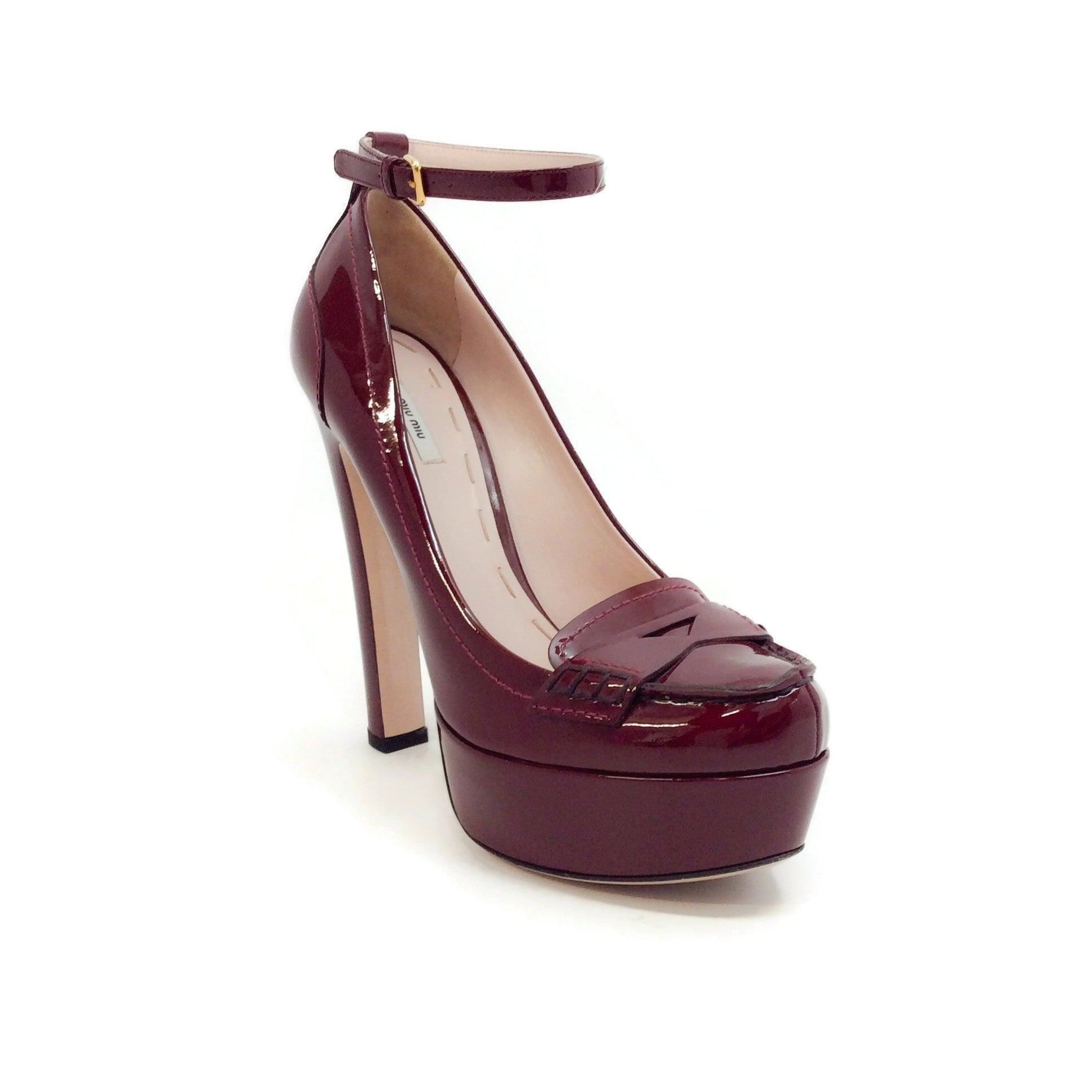 Miu Miu Oxblood Platform Loafer Pumps
