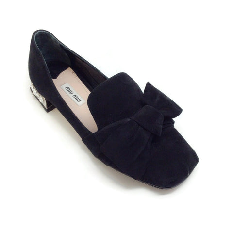 Miu Miu Black Suede Embellished Heel Bow Loafers