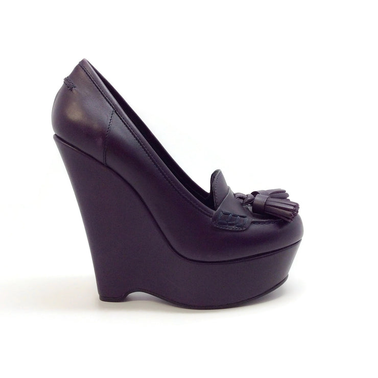 Saint Laurent Plum Tassel Wedge Pumps