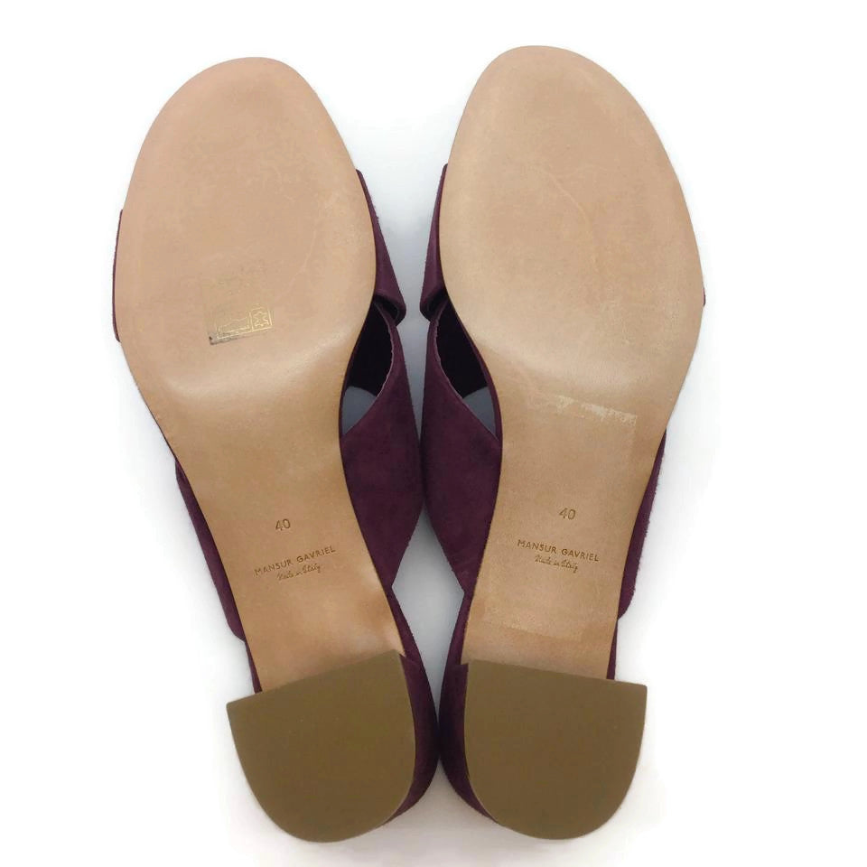 Mansur Gavriel Plum Suede Cross Top Mules