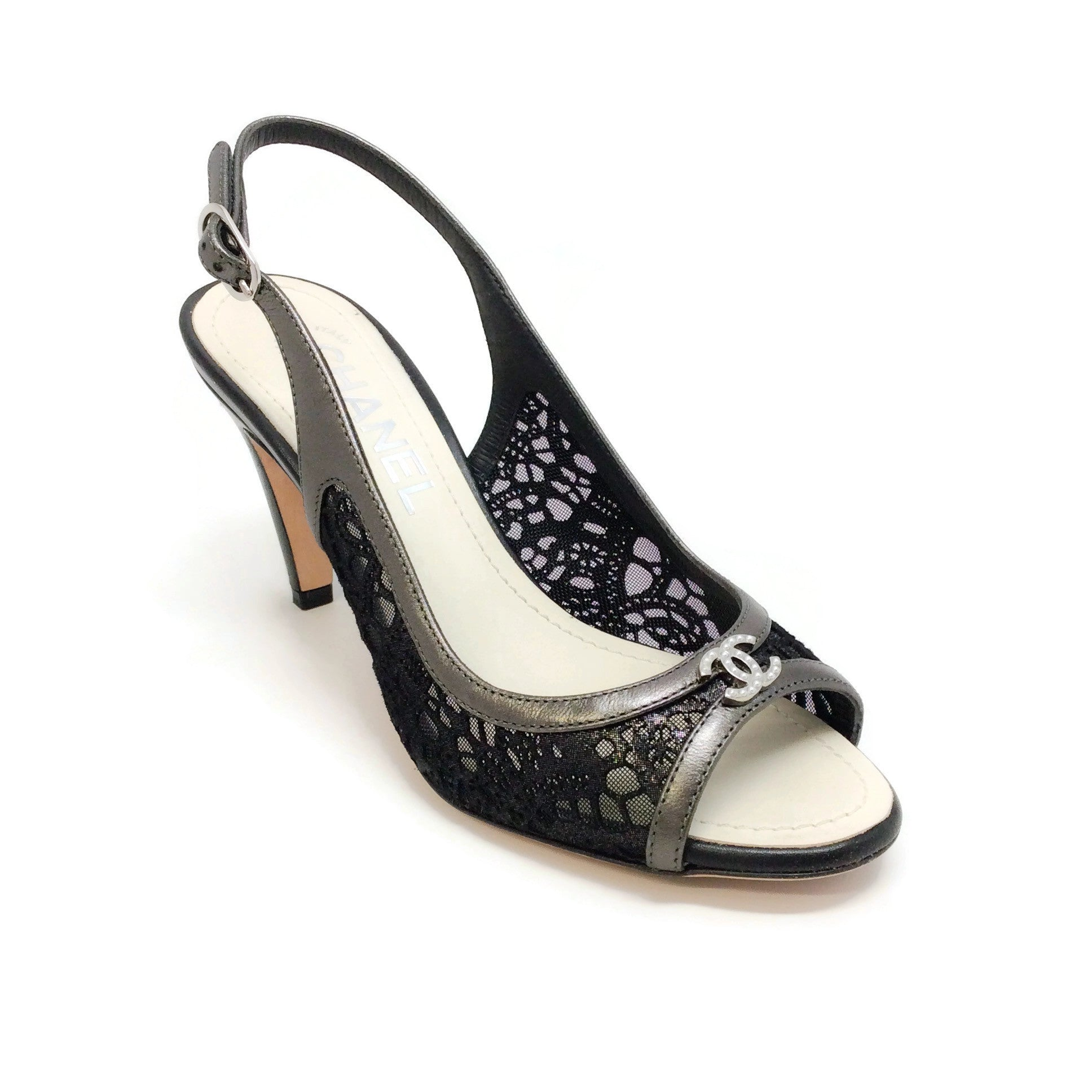 Chanel Black Laser Cut Lace Peep Toe Pumps