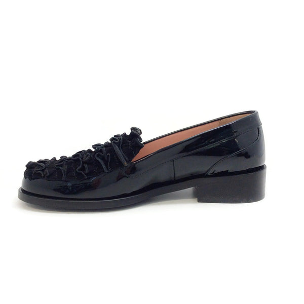 Boutique Moschino Black Patent Suede Ruffle Front Loafers