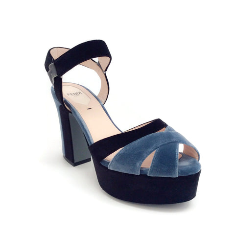 Fendi Blue / Black Velvet Platform Sandals