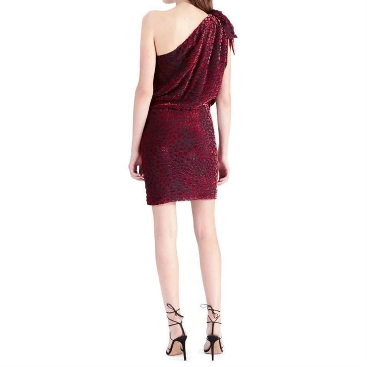 IRO Black / Red Moon One-shoulder Leopard Dress