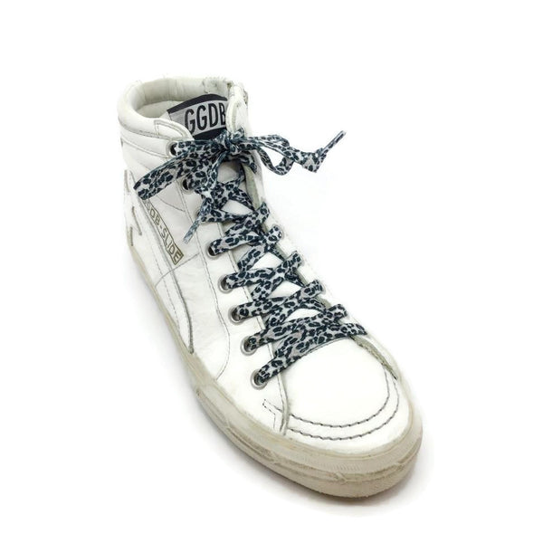 Golden Goose Deluxe Brand White Leopard Lace Hi Top Sneakers