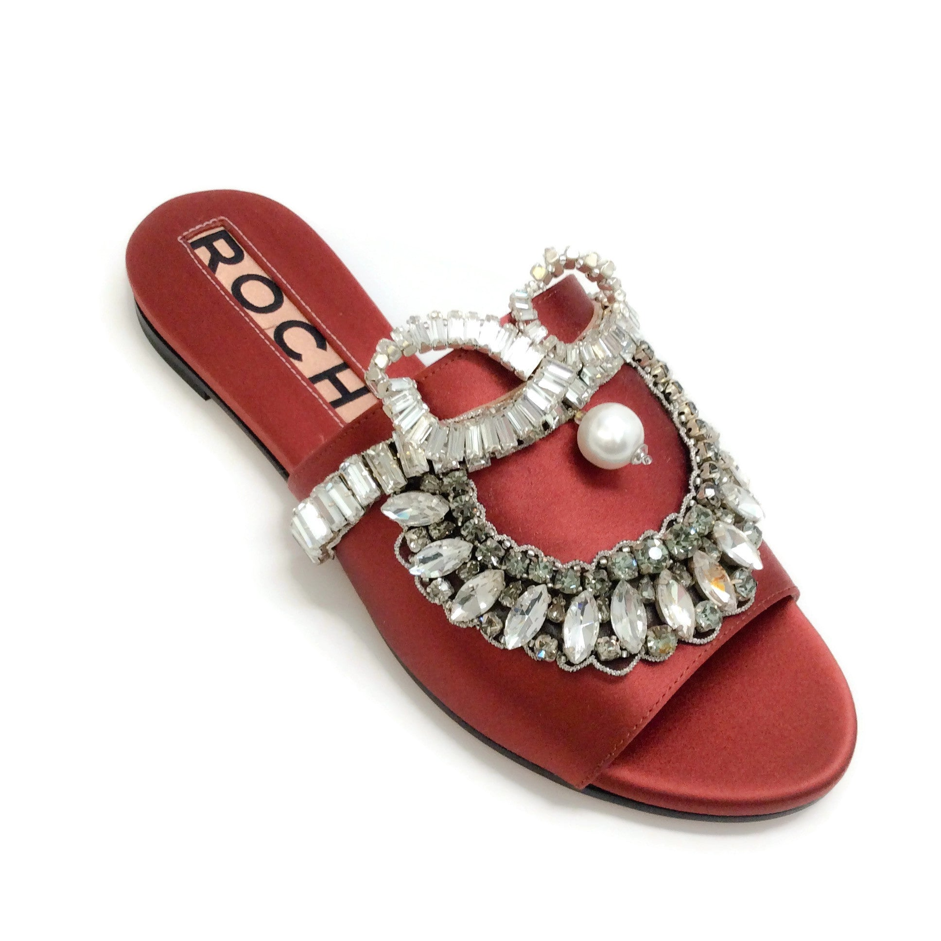Rochas Copper Bonita Crystal Embellished Sandals