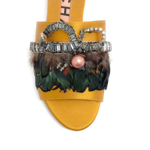 Rochas Yellow Bonita Crystal and Plume Embellished Sandals