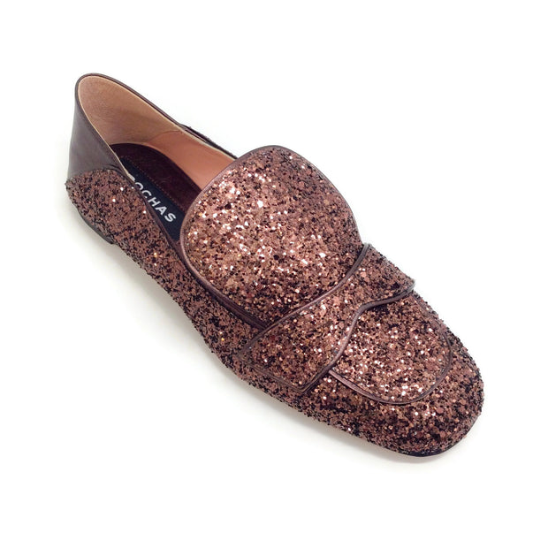 Rochas Copper Brown Glitter Capri Loafers