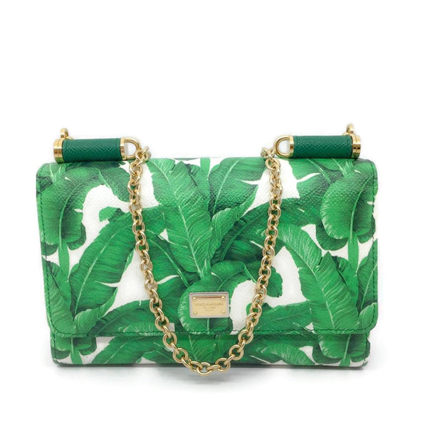 Dolce&Gabbana Mini Von Leaf Green / White Leather Cross Body Bag