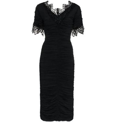 Dolce&Gabbana Black Lace Trimmed Ruched Silk Blend Georgette Dress