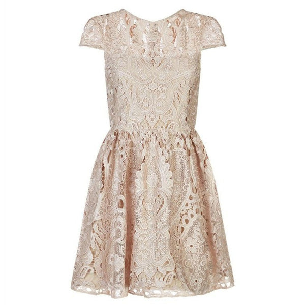 Alice + Olivia Nude Gracia Lace Cocktail Dress